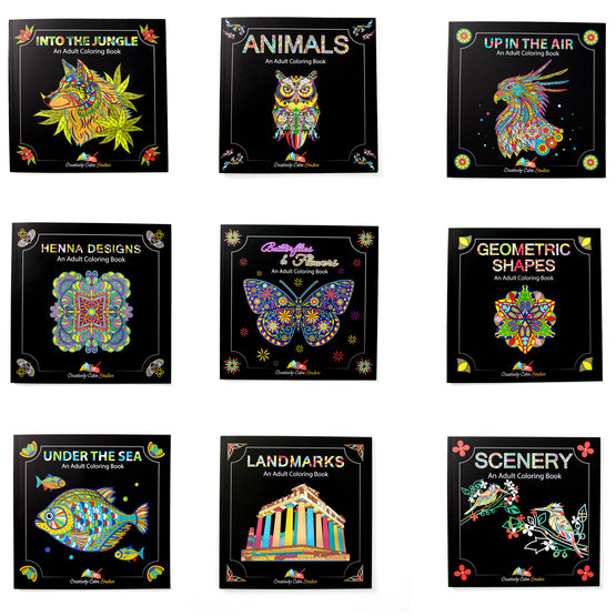 Limited Time Offer All THREE Of Our Adult Coloring Book Sets 9 Total Books