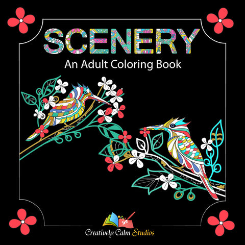 Adult Coloring Books - Animals, Geometric Shapes with Mandala Designs and Scenery