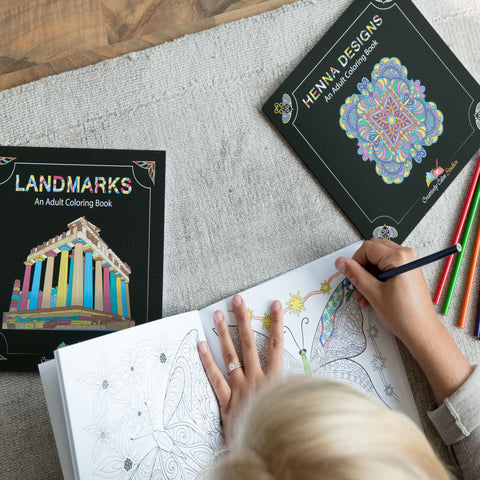 Coloring Books for Adults - Butterflies & Flowers, Henna Designs and Landmarks