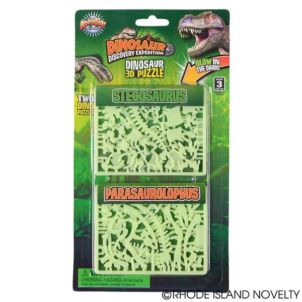 3D Glow-in-the-Dark Dinosaur Puzzle, Set of 2