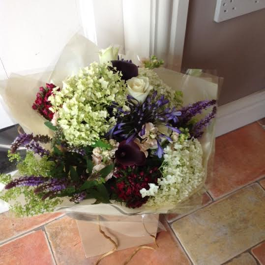 White Roses and Stocks Bouquet