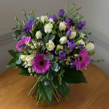 Alweston - Cerise Gerbera and Purple Bouquet.