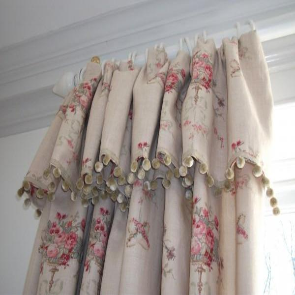 French Headed Curtains with bobble fringe.