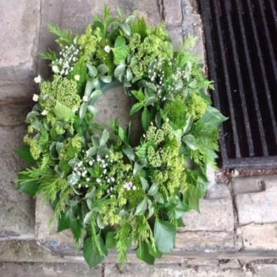 Wherwell - Funeral Wreath of just foliage's.