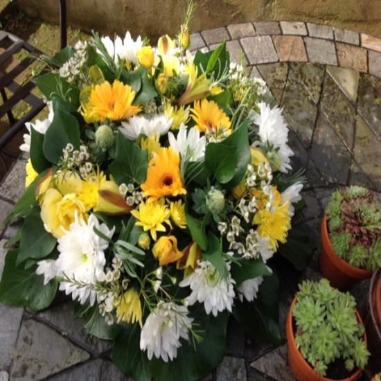 Esta - White/Yellow and Gold  Funeral Posy
