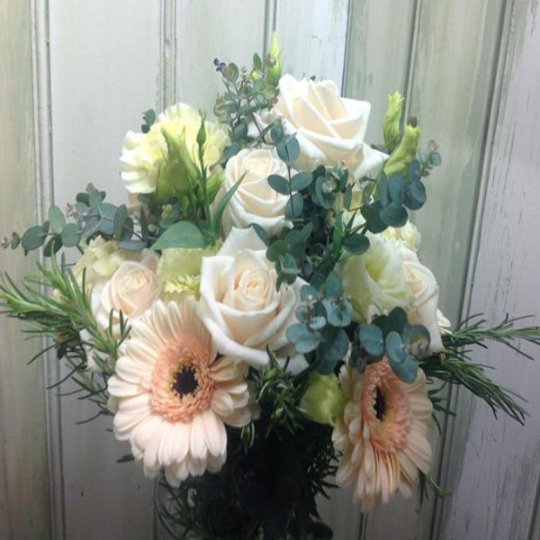 Soft Peach Avalanche Roses, Lisianthus and Gerbera Brides Bouquet Lavender and Grey