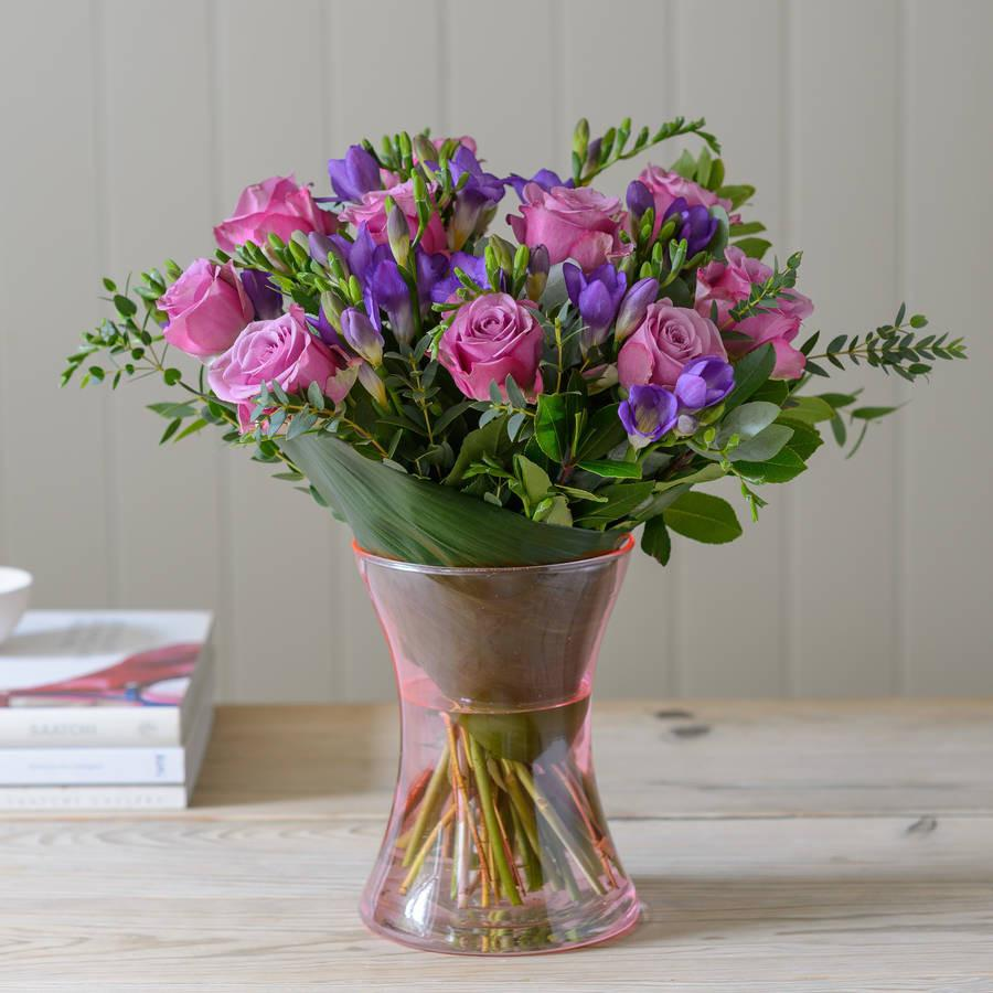 Pink Roses and Lilac Freesia Bouquet Joannes Florist Winchester
