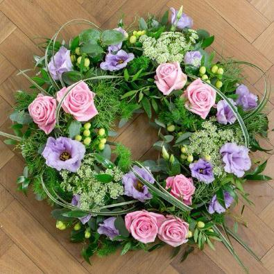Stockbridge - Funeral Flowers Lilac, Pink Rose Wreath