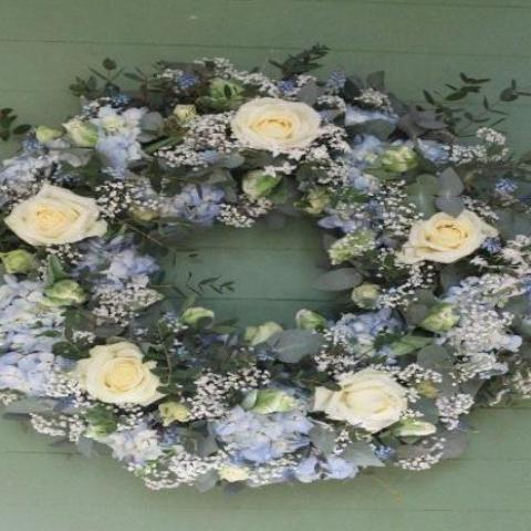 Milton - Funeral Flowers Cream and Blue Wreath