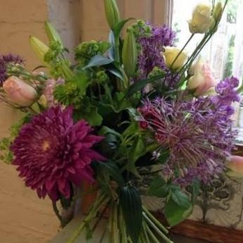 Cerne - Purple Aliums Cream Lily and Pink Rose Bouquet