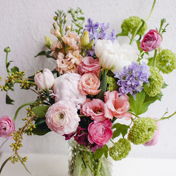 Spring Ranunculus Stocks Hyacinth Bouquet Lavender and Grey
