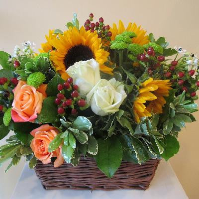 Basket of Sunflowers and Roses Lavender and Grey