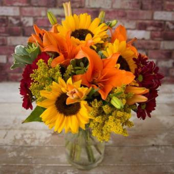 Sunflower Bouquet Tied with Aziatic Orange Lily Lavender and Grey