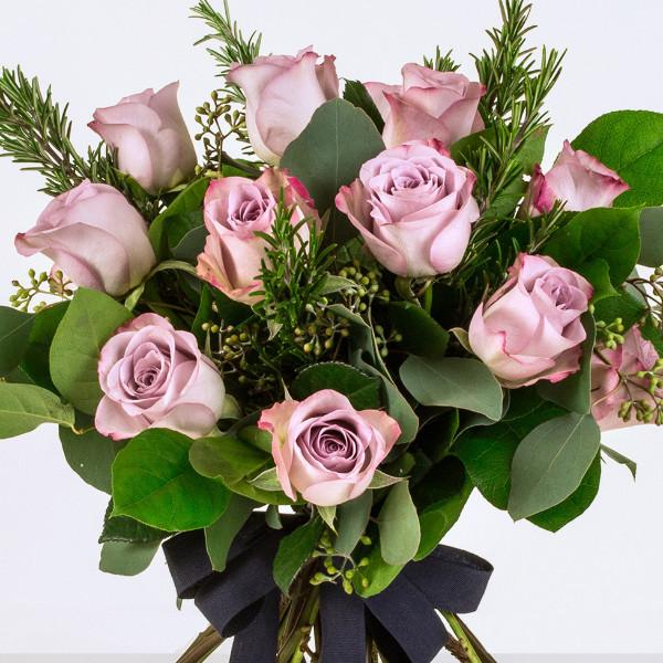 Netton - Twelve Lilac Pink Long Stem Roses.