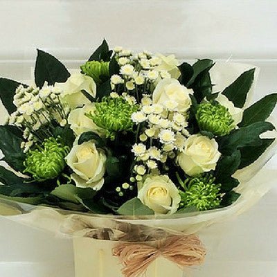 Long Stem Cream Roses tied with Green Blooms Lavender and Grey