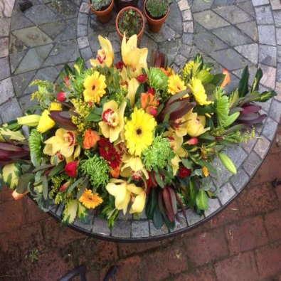 Charlton - Funeral Spray -  Roses and Yellow Orchids.
