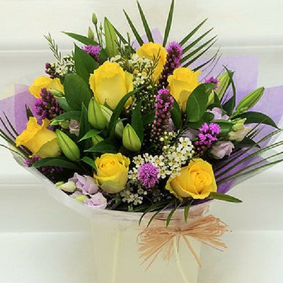 Yellow Rose Bouquet Lilac Freesia Lavender and Grey