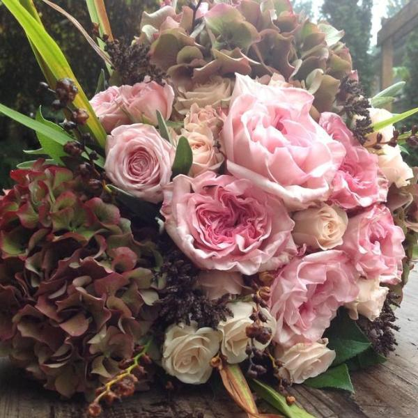 Brides Bouquet Athelhampton Vintage Hydrangea and Pink Roses Lavender and Grey