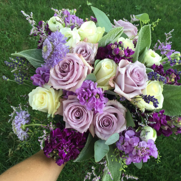 Vintage Lilac Rose Brides Bouquet Mapperton Wedding Lavender and Grey