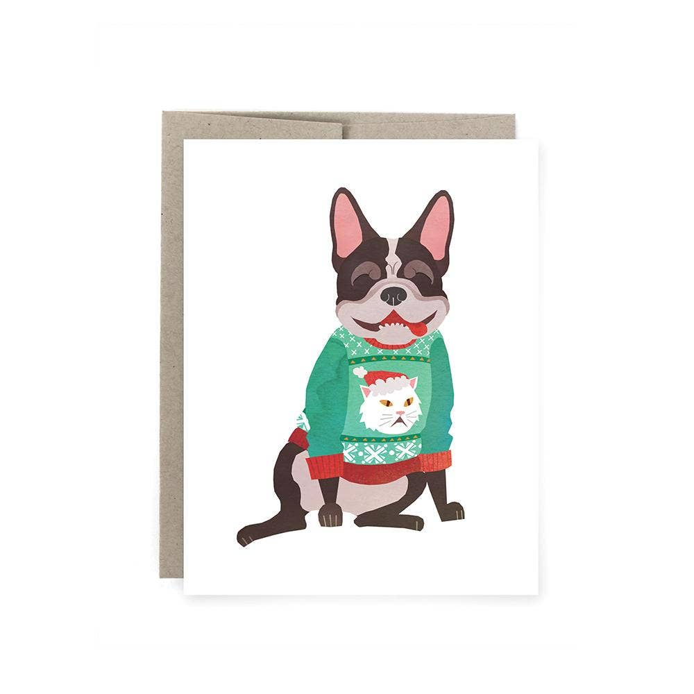 Art of Melodious - Frenchie Ugly Sweater Holiday Card