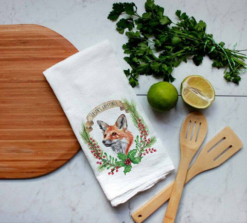Meadowbrook Lane - Watercolor Christmas Fox Laurel Flour Sack Tea Towel