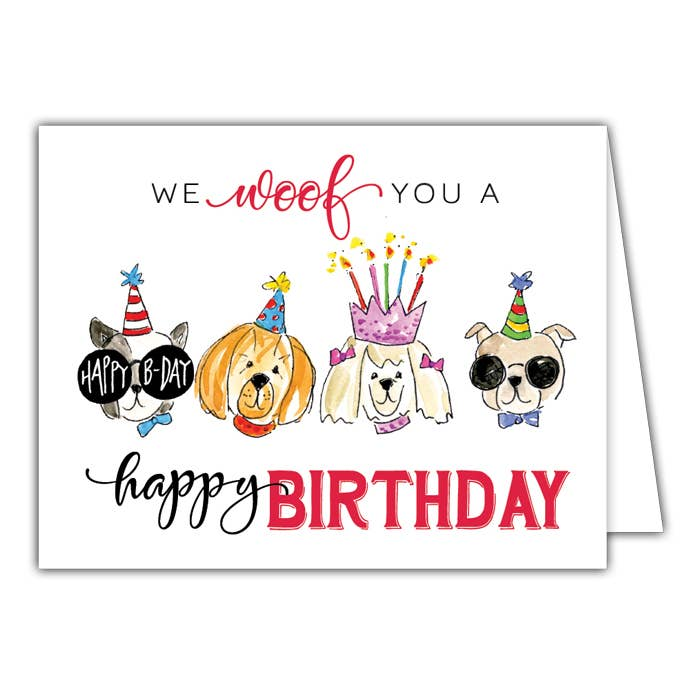 RosanneBeck Collections - We Woof You a Happy Birthday Small Folded Greeting Card