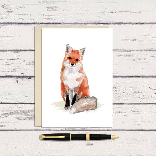 Meadowbrook Lane - Watercolor Fox Greeting Card