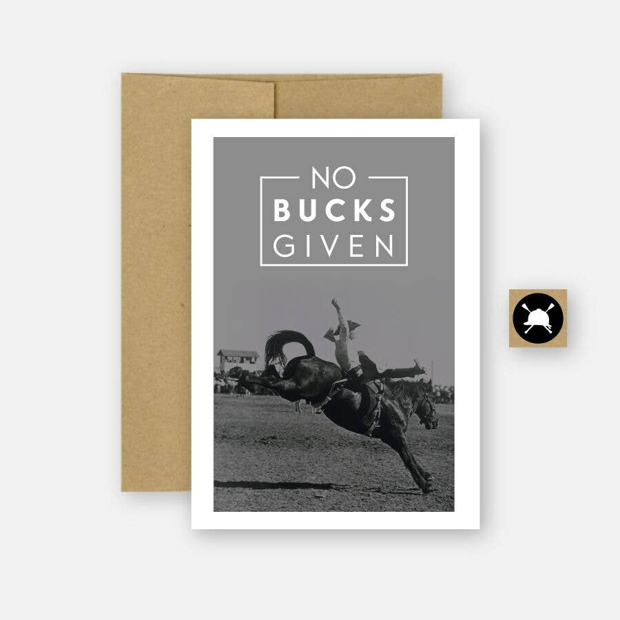 Hunt Seat Paper Co. - No Bucks - Bronc Equestrian Horse Greeting Card