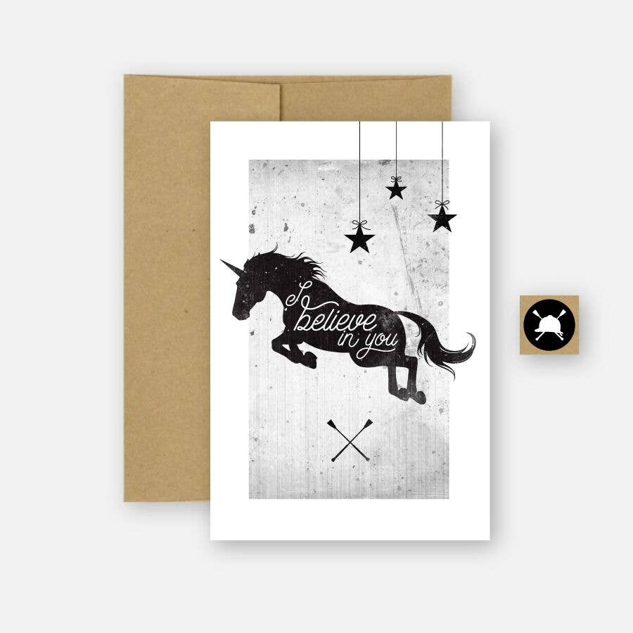 Hunt Seat Paper Co. - Believe Equestrian Unicorn Greeting Card
