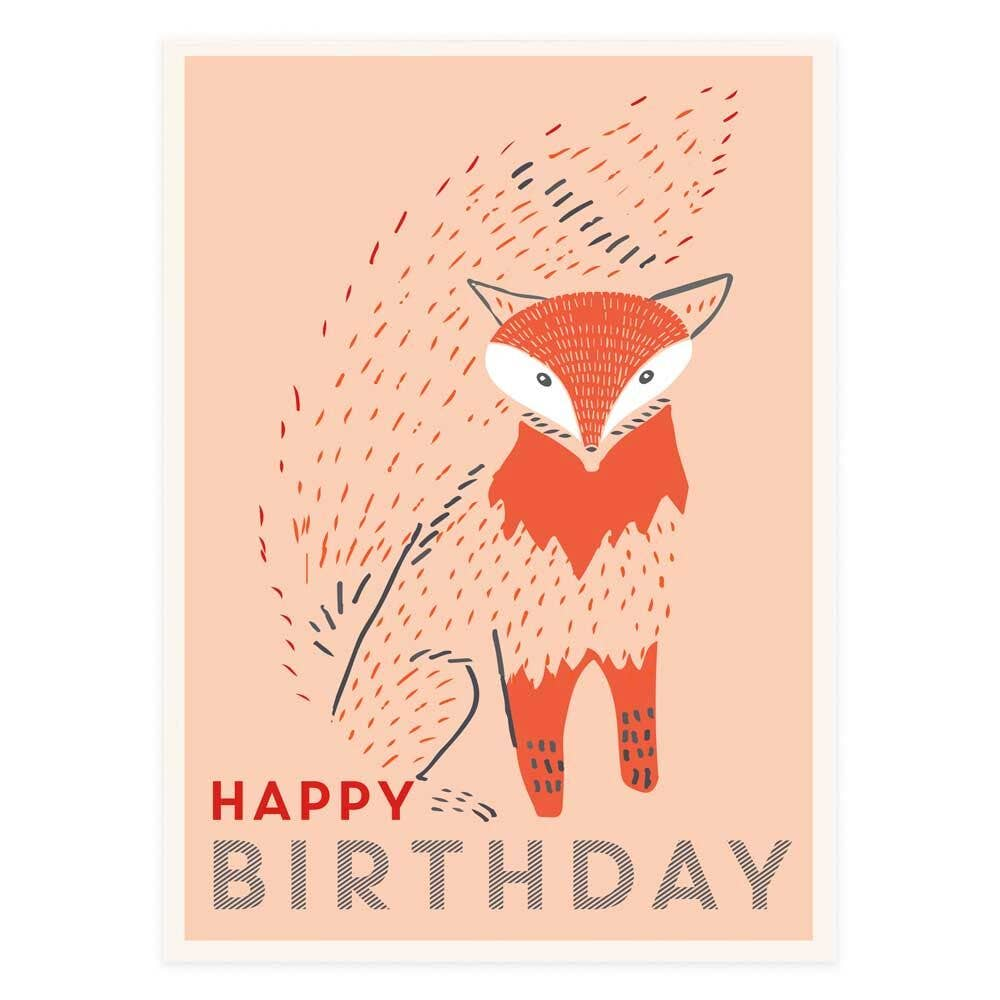 Happy Birthday Bushy Tail Fox  Greeting Card