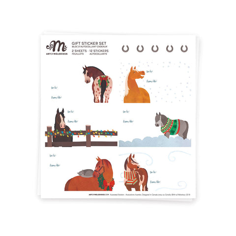 Art of Melodious - Horse Christmas Gift Sticker Set