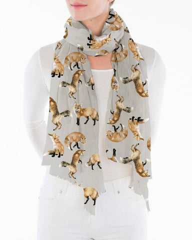 Printed Village - Grey Fox Scarf