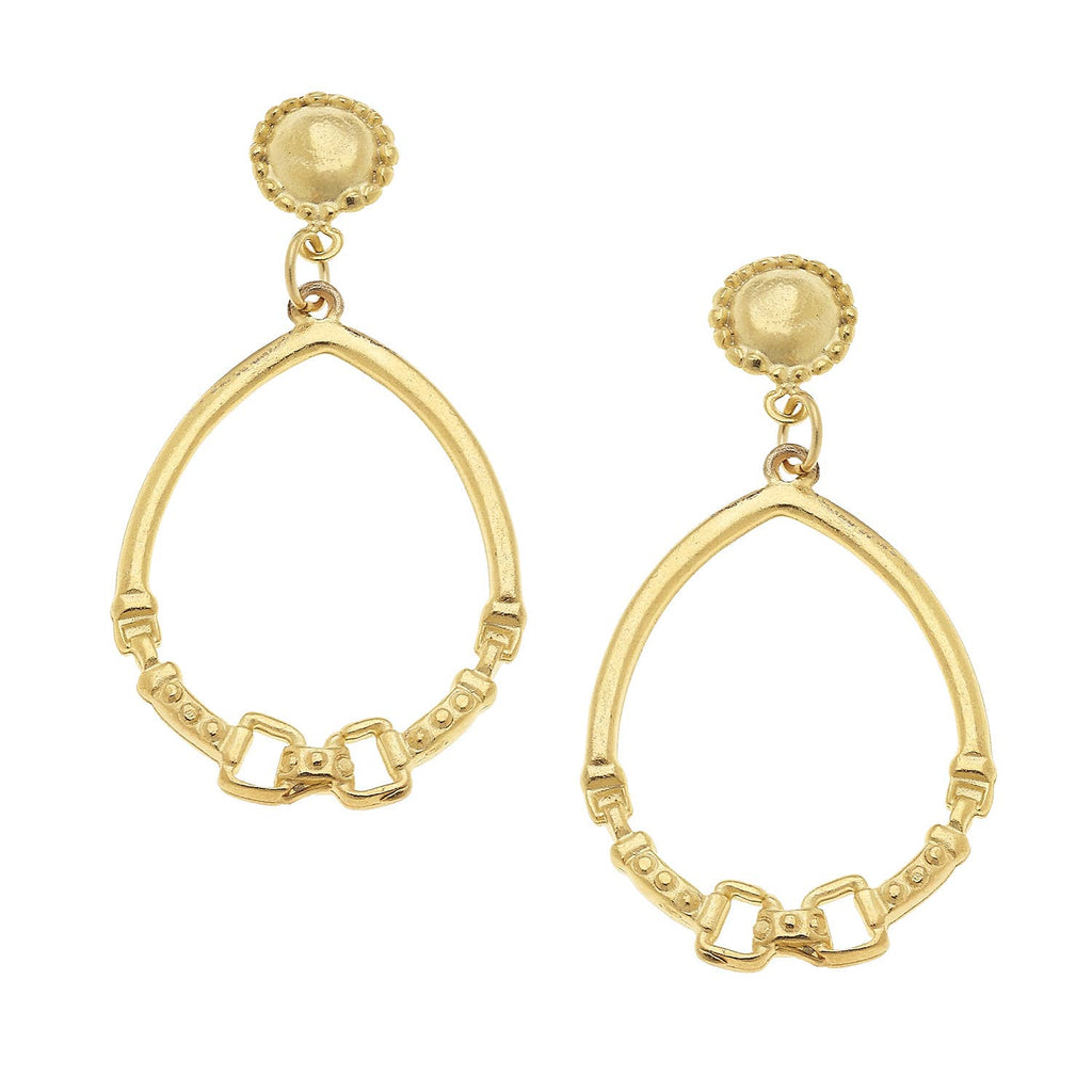 Susan Shaw - Gold Cab and Horse Bit Hoop Earrings