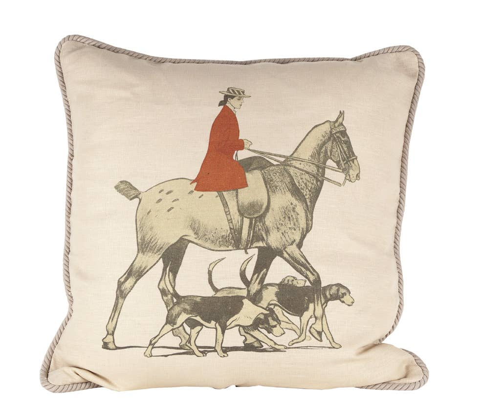 Ox Bow Decor - Horse and Hounds Equestrian Pillow