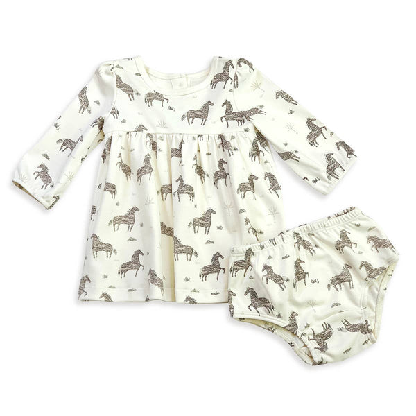 Viverano Organics - Horse Print Flare Baby Dress+Bloomer Set (Organic Cotton)