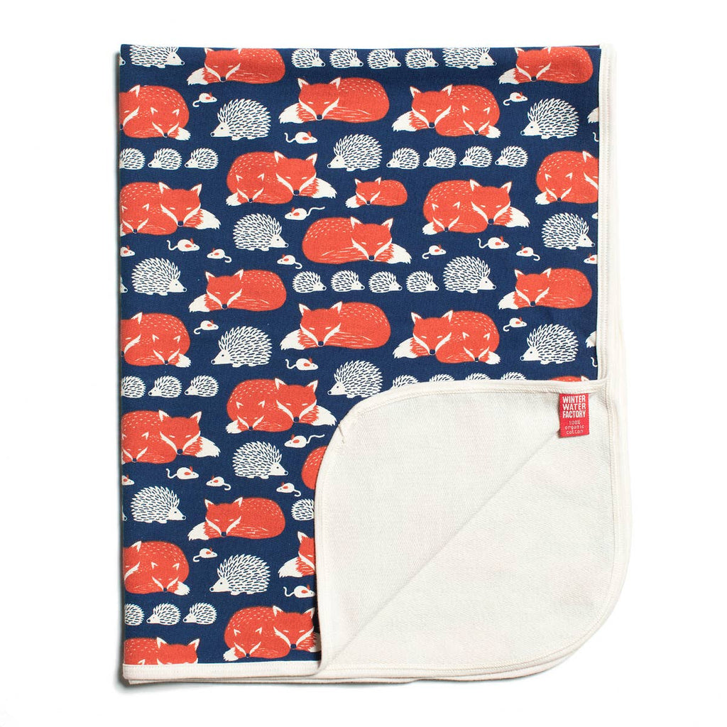 Winter Water Factory - French Terry Blanket - Foxes & Hedgehogs Navy & Orange