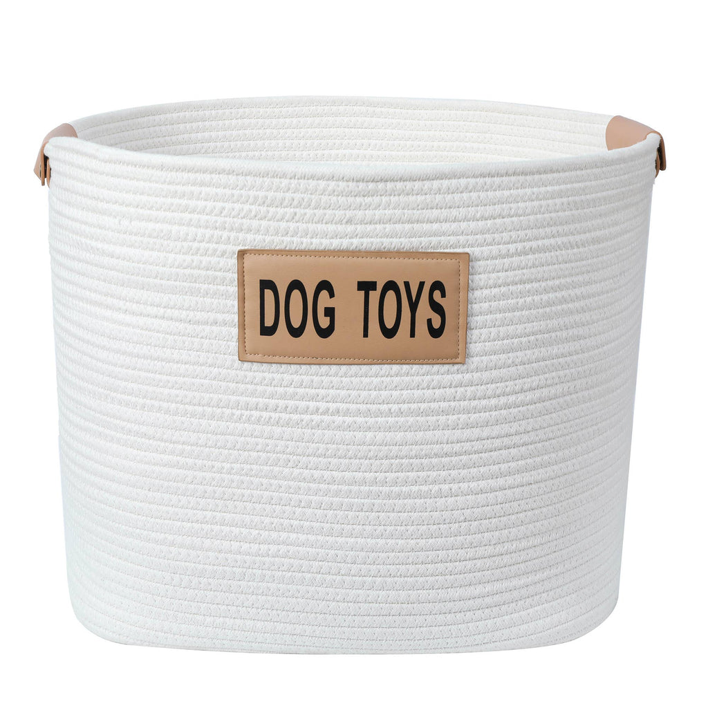 Midlee Designs - Midlee Rope Dog Toys Basket with Leather Handles