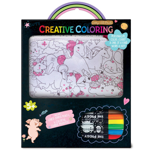 The Piggy Story - Creative Coloring: Carry All Pouch- Unicorn Fantasy