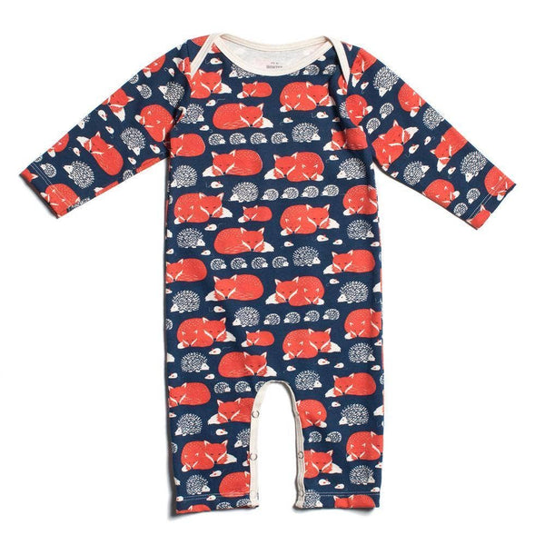 Winter Water Factory - Long-Sleeve Romper - Foxes and Hedgehogs Navy