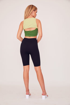 Two Tone Peak Top - Green