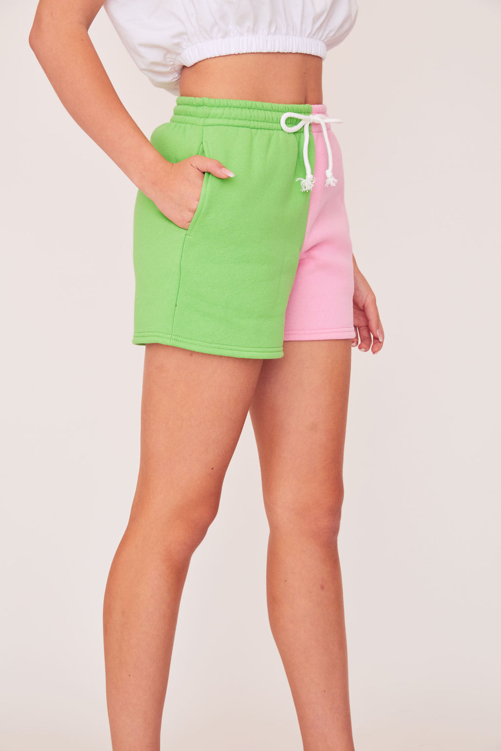 Two Tone Shorts - Pink/Green