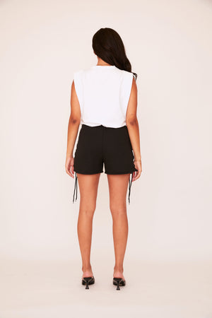 Lace Up Sweat Short - Black