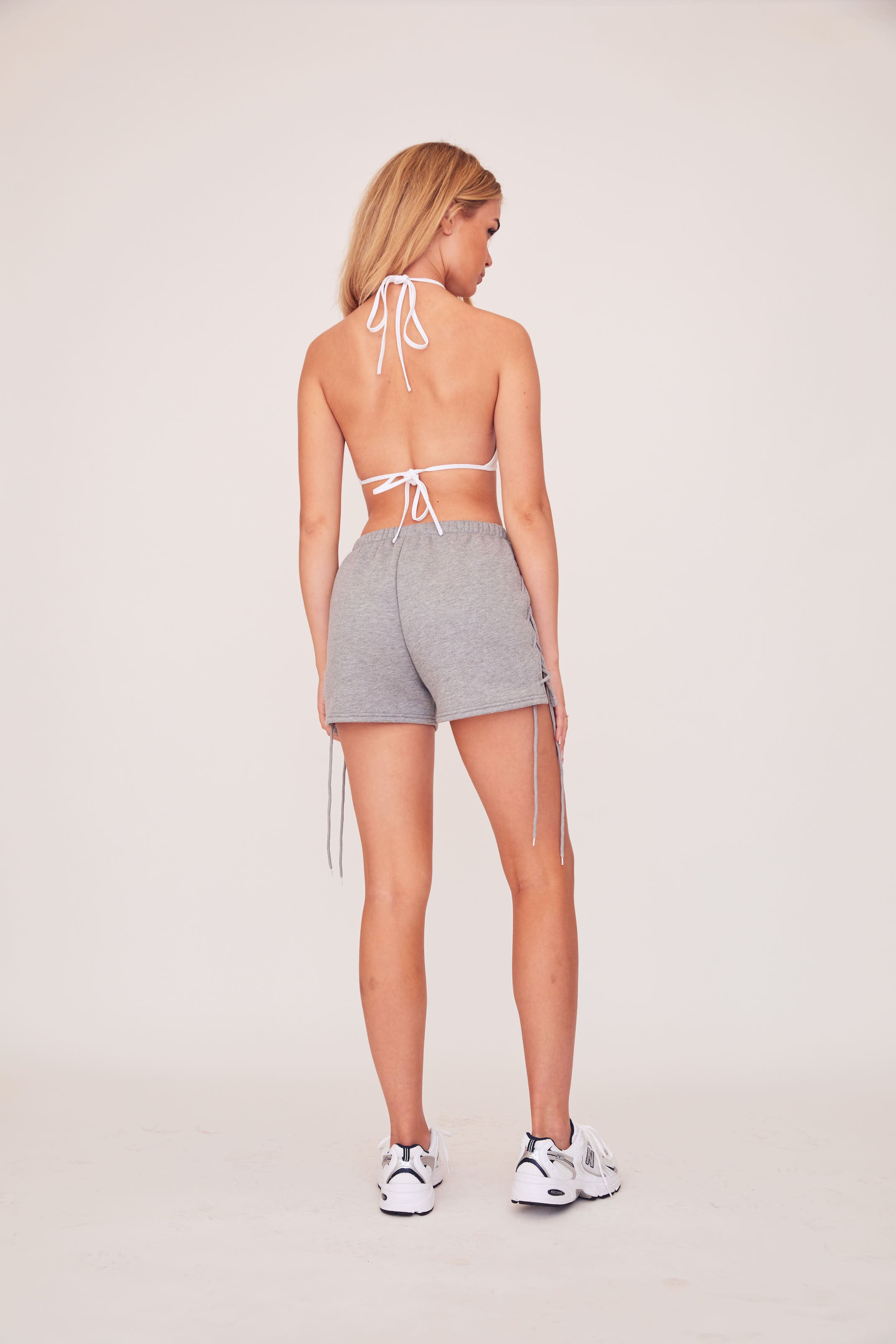 Lace Up Sweat Short - Grey