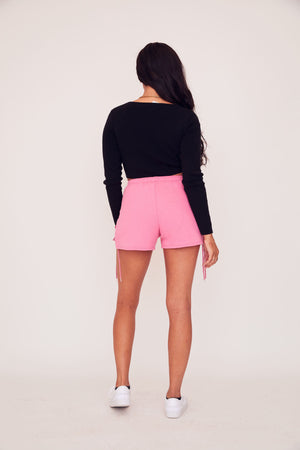 Lace Up Sweat Short - Pink