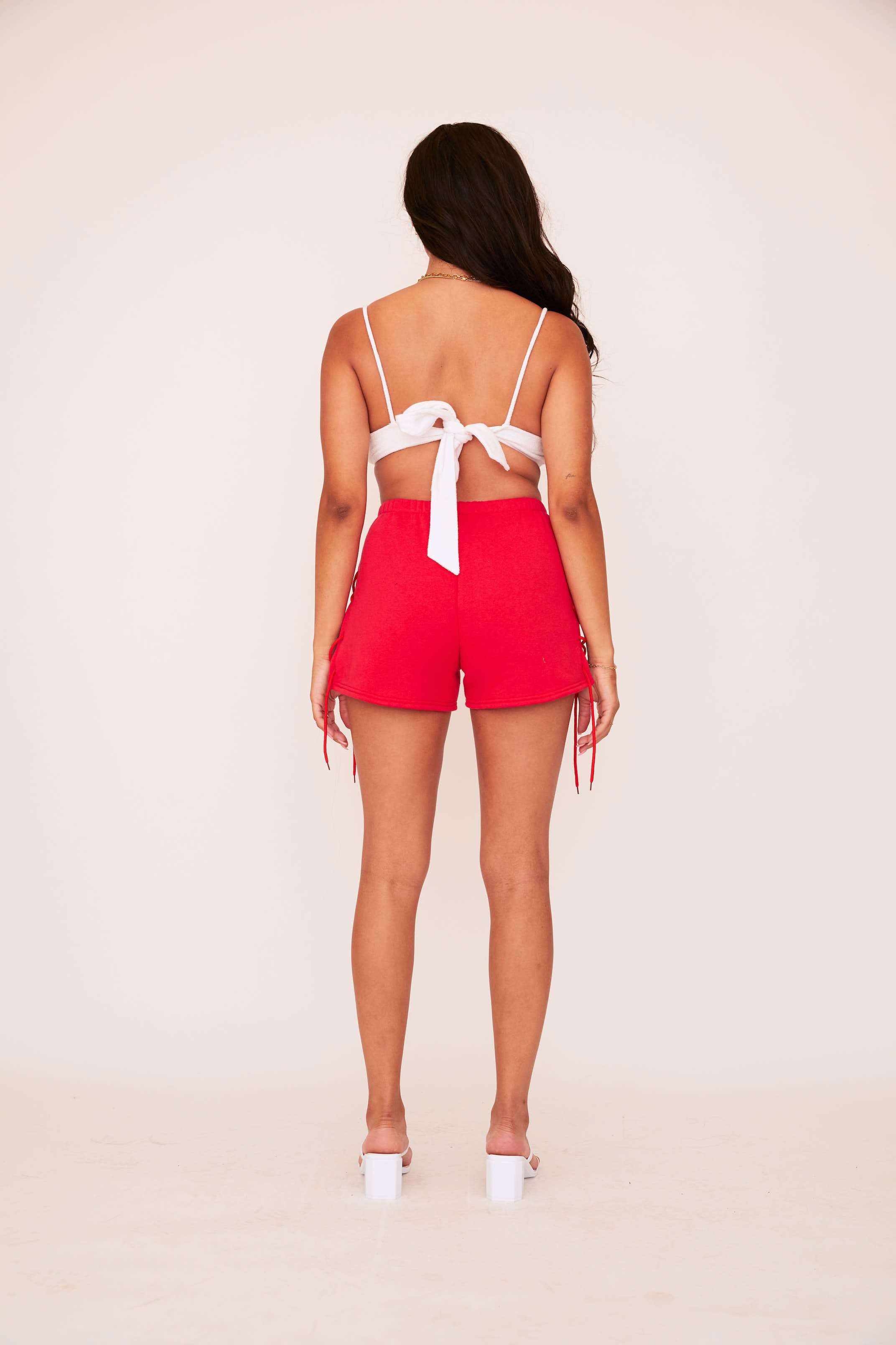 Lace Up Sweat Short - Red