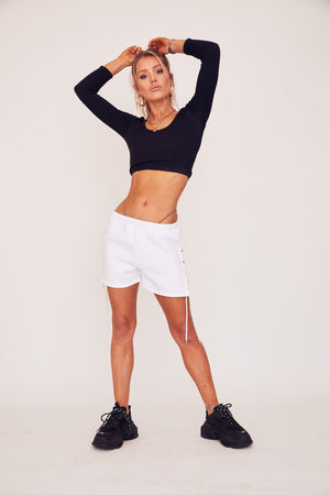 Lace Up Sweat Short - White