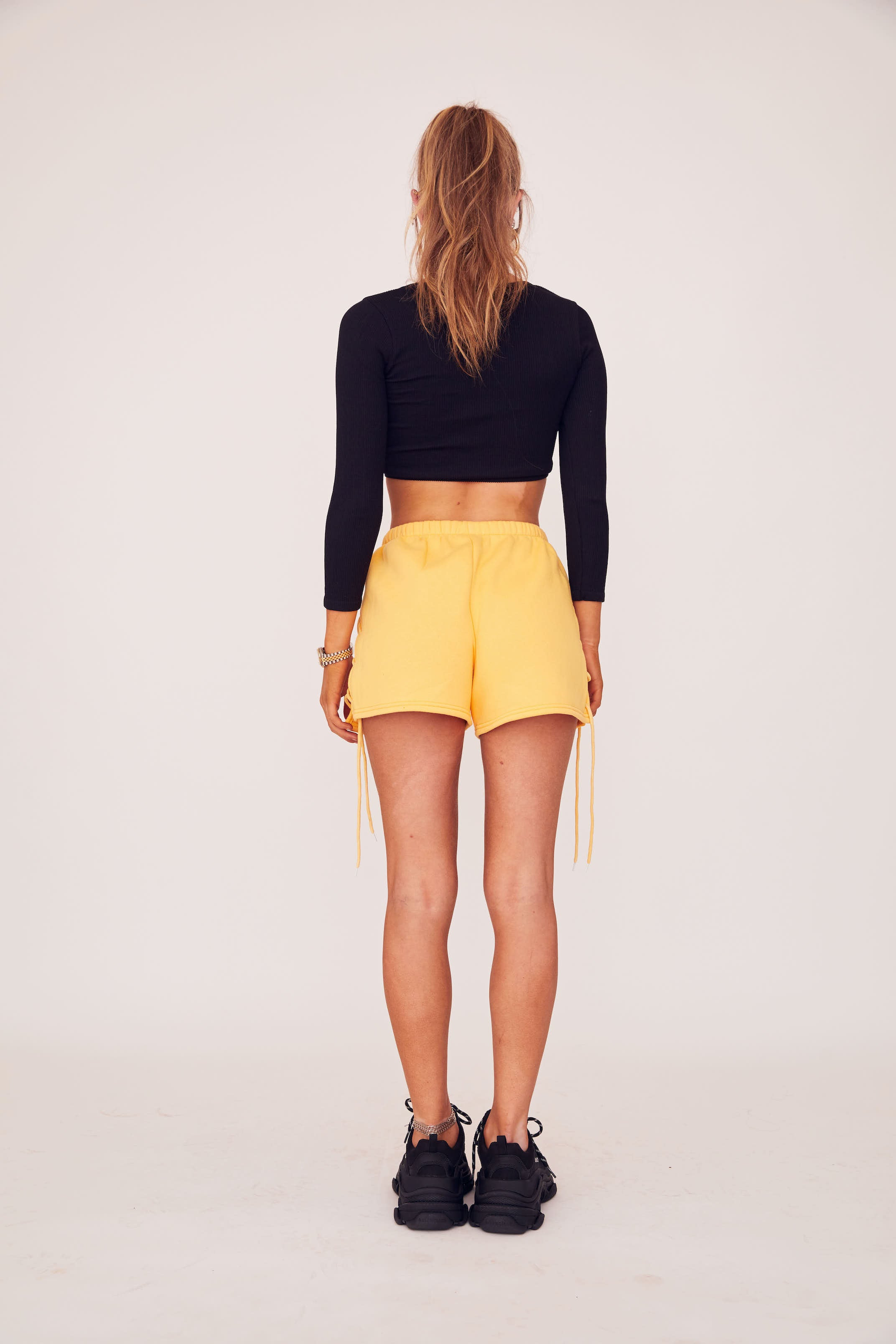 Lace Up Sweat Short - Yellow