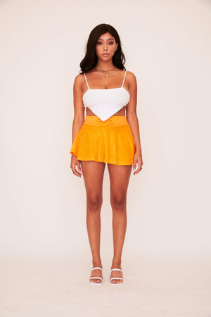 Pleated Mini Skirt - Orange