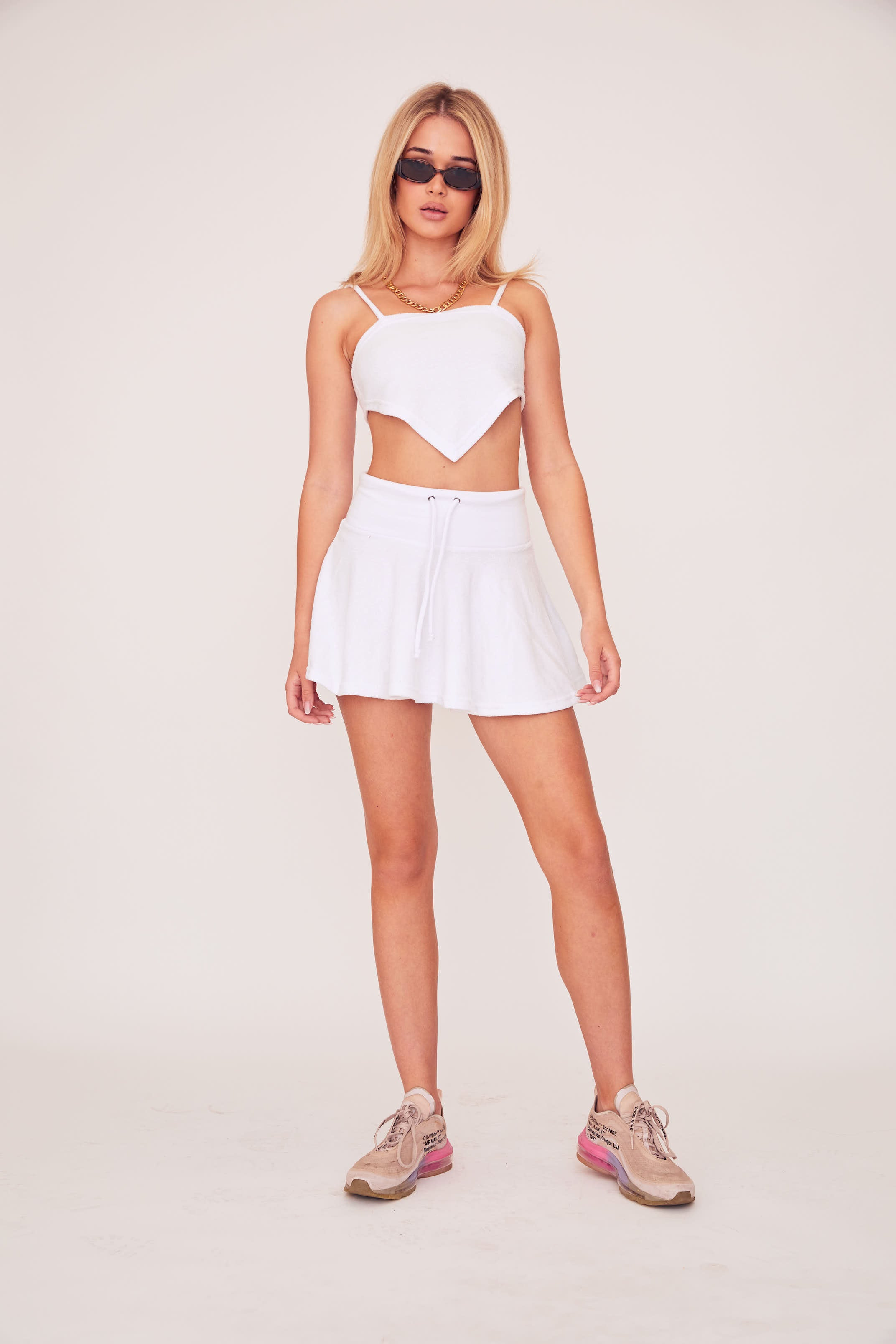 Pleated Mini Skirt - White