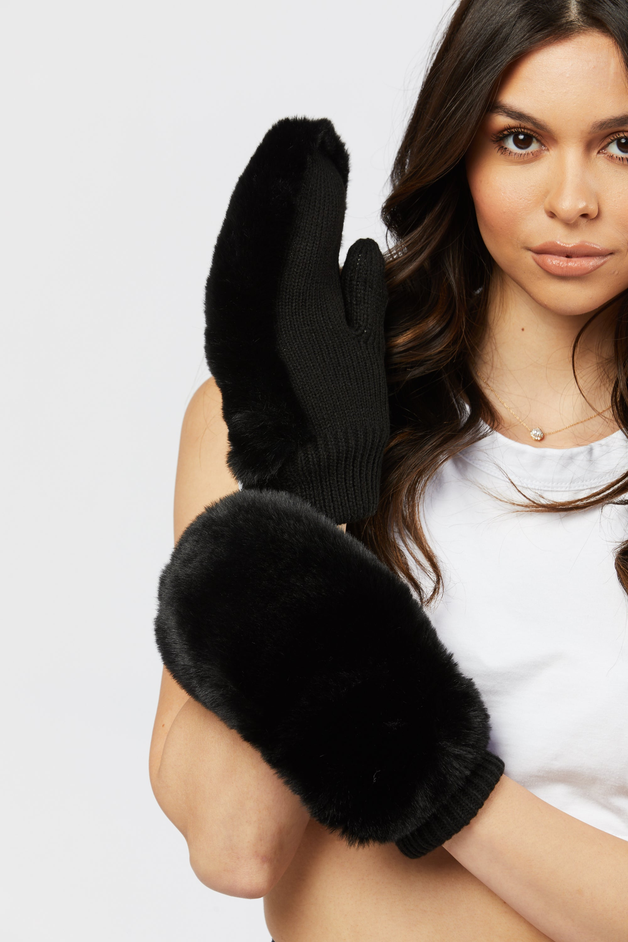 Faux Fur Gloves - Black